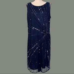 NEW WITH TAGS-PISARRO NIGHTS navy sleeveless dress with sequin design- size 14W.